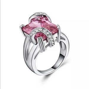 Pink Sapphire .925 Sterling Ring With Accents